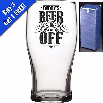 Novelty Pint Beer Cider Glass - Daddys Beer Hands Off - Perfect Gift For Any Dad • 7.95£