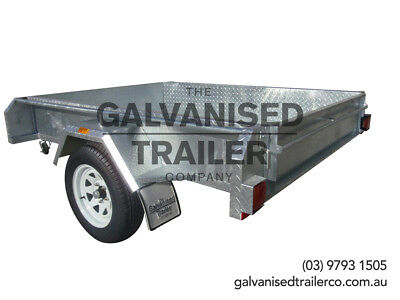 AU1650 • Buy 7x5 Single Axle Box Trailer Galvanised Heavy Duty With 300mm Checker Plate Sides