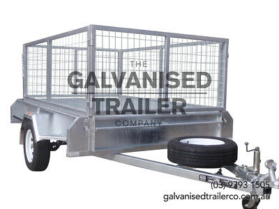 AU1950 • Buy 8x5 Single Axle Galvanised H/ Duty With 300mm Checker Plate Sides & 800mm Cage