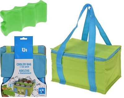 Insulated Camping Picnic Cool Bag Cooler And Ice Brick Pack For Cans Block • 6.99£