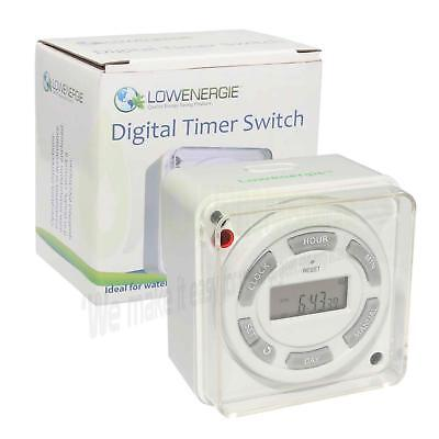 Immersion Heater Timer 24 Hour & 7 Day Digital Time Switch 1G Back Box Patress • 14.99£
