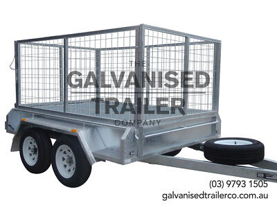 AU2950 • Buy 8x5 Tandem Trailer Galvanised Heavy Duty With 300mm Sides & 1000mm Mesh Cage