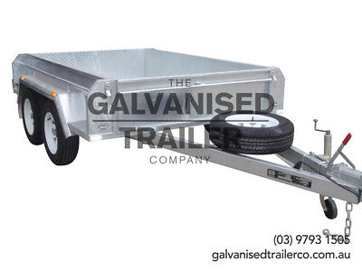 AU2800 • Buy 8x5 Tandem Trailer Galvanised Heavy Duty With 410mm Deep Checker Plate Sides