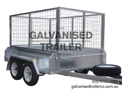 AU3100 • Buy 8x5 Tandem Trailer Galvanised Heavy Duty With 410mm Sides & 1000mm Mesh Cage