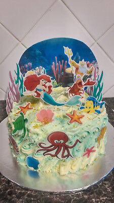 £3.99 • Buy Inspired By Ariel Underwater Scene Wafer Edible Cake Decoration Set