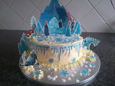 £3.99 • Buy Inspired By Frozen Anna And Elsa Scene Wafer Edible Cake Decoration Set