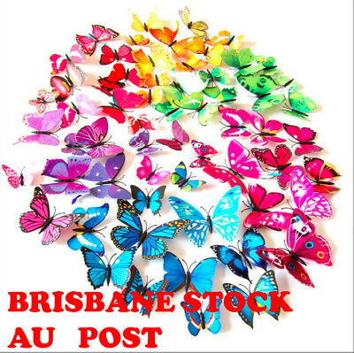 AU3.95 • Buy 12PCS 3D Butterfly Wall Decal Magnet Removable Sticker Kids Nursery Decoration