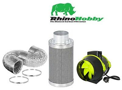 4  Rhino Hobby Carbon Filter & HighPro TT Fan Extraction Kit 5m Ducting & Clips • 80£