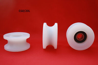 £10 • Buy 60MM Round U Groove Nylon Pulley W Ball Bearing Wheels Roller For Rope