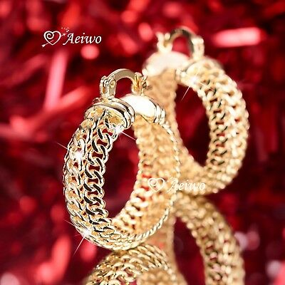 AU12.99 • Buy 18k Yellow Gold Gf Filigree Earrings Huggies Round Hoop