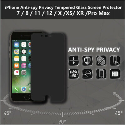 AU5.62 • Buy IPhone Anti-spy Privacy Tempered Glass Screen Protector 7 8 X XS XR 11 Pro Max
