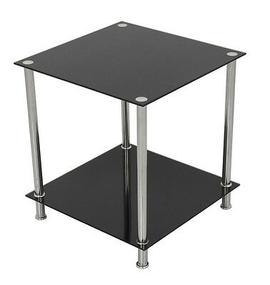 Black Glass Square Side Table Gloss Coffee End Lamp Table With Chrome Metal Legs • 30.49£