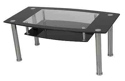 Black Glass Coffee Table Metal Chrome Legs With Shelf For Living Room - 110cm • 45.99£