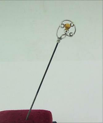 Antique Solid Silver Hat Pin Citrine Thistle • 59£