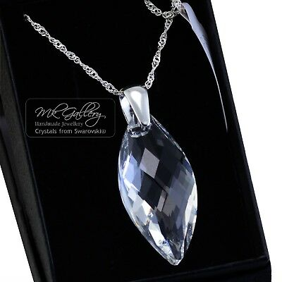£39.99 • Buy 925 Sterling Silver Navette Crystal Clear 40mm Necklace Crystals From Swarovski®