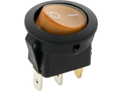 ROUND Rocker Switch 6.5A 240V  ORANGE ON-OFF Double Pole 3 Pin  ILLUMINATED • 2.49£
