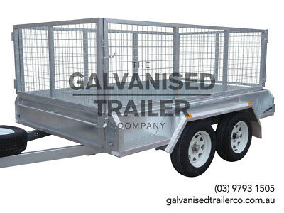 AU3100 • Buy 9x5 Tandem Trailer Galvanised Heavy Duty With 300mm Sides & 800mm Mesh Cage