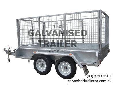 AU3150 • Buy 9x5 Tandem Trailer Galvanised Heavy Duty With 300mm Sides & 1000mm Mesh Cage