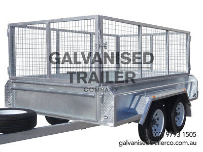 AU3250 • Buy 9x5 Tandem Trailer Galvanised Heavy Duty With 410mm Sides & 800mm Mesh Cage