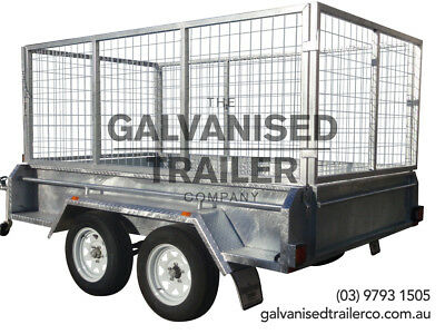 AU3300 • Buy 9x5 Tandem Trailer Galvanised Heavy Duty With 410mm Sides & 1000mm Mesh Cage