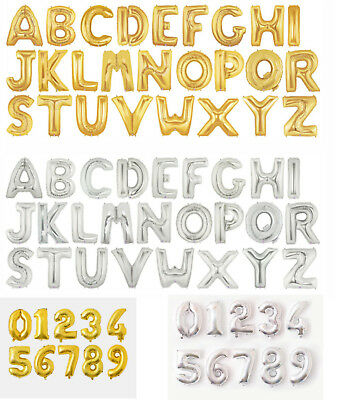 16  32  42  GOLD SILVER Foil Helium Letters Numbers Bunting Banner Party Balloon • 0.99£