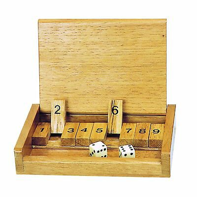 £9.99 • Buy Wooden Travel Shut The Box Game Travel Set Gift Fun Pub Kids Toy Mini Dice