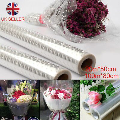 Three Sizes Plain Clear Florist Craft Cellophane Roll Film Dot Gift Wrap Hamper • 10.29£