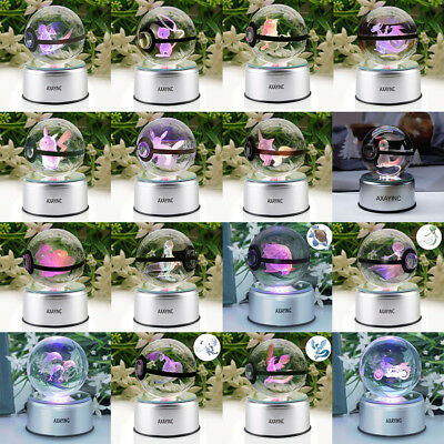 Pokemon Pokeball Elf 3D Crystal Ball LED Night Light Table Desk Lamp Gift 80mm • 29.90£