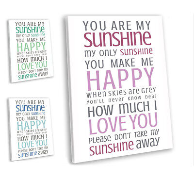 You Are My Sunshine Lyrics Music Canvas Print Framed Wall Art Picture  • 19.99£