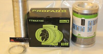 5  Rhino Hobby Carbon Filter & HighPro TT Fan Extraction Kit 5m Ducting & Clips • 88£