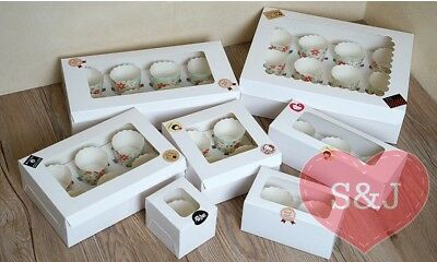 AU19.96 • Buy 50x Cupcake Box Cardboard Window White 1 2 4 6 Holes Holder Cake Large Container