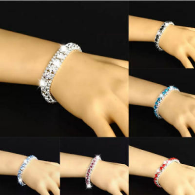 Rhinestones Bracelets Bangle 3 Rows Diamante Bling Crystal Women Fashion Gift UK • 4.29£