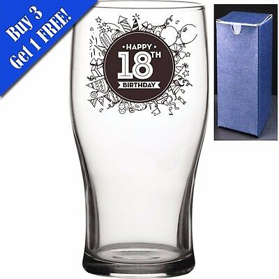 Novelty Pint Beer Cider Glass - Happy 18th Birthday - Perfect Birthday Present • 7.95£