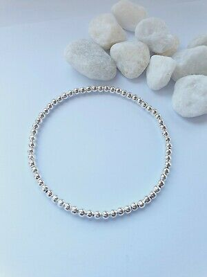 £2.99 • Buy Basic Silver Plated Ball Stretch Bracelet Looks Perfect For Stacker Boho Gift