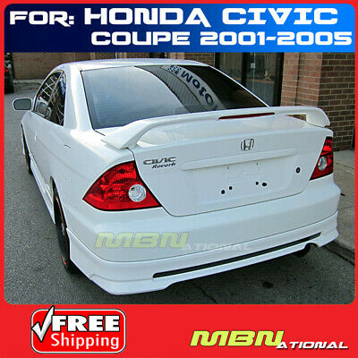 $92.53 • Buy 01-05 For Honda Civic 2D 2D Rear Tail Trunk Wing Spoiler Primer Unpainted ABS