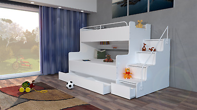 Double Triple Bunk Bed Storage For Modern Bedroom Boy Girl Youth Kids Mattresses • 689£