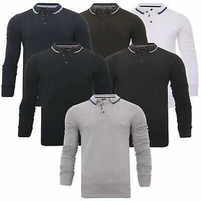 Mens Long Sleeve Polo Shirt Button Down Badminton Golf Casual Top Brave Soul  • 8.99£
