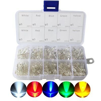$ CDN23.18 • Buy 3mm And 5mm Assorted Clear LED Light Emitting Diodes 5 Colors Pack Of 300
