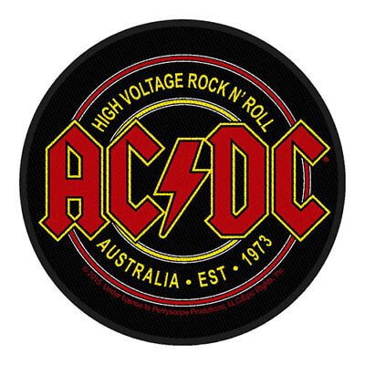 £3.95 • Buy ACDC High Voltage Rock N Roll Logo Round Sew On Patch Badge Official Music Band