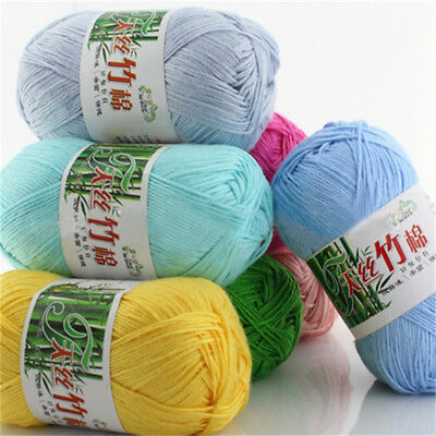 AU1.79 • Buy 50g Soft Baby Knitting Wool Natural Crochet Bamboo Cotton Hand Yarn 55 Colors