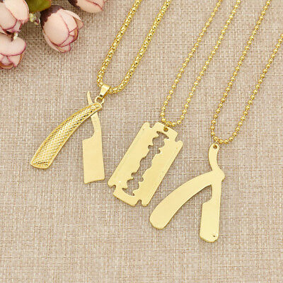 Razor Blade Pendant Necklace Trendy Barber Shop Cosmetologist Tool Jewelry Hot • 1.44£