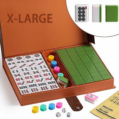 $58.99 • Buy 高級壓克力麻將 Chinese Numbered X-Large Green Tiles Mahjong Set / Board Game US Seller