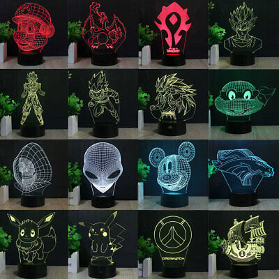 Pokemon Dragon Ball Z 3D LED 7 Colour Night Light Touch Desk Table Art Lamp Gift • 14.99£