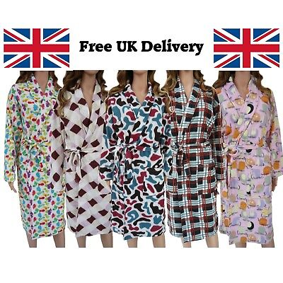Ladies New Soft Fleece Dressing Gown Bath Robe Pockets Patterns Christmas Gift • 10.99£