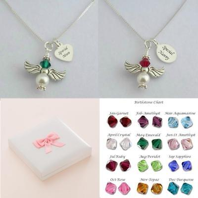 Angel Necklace With Birthstone & Engraved Silver Cham For Mum, Daughter Etc • 14.99£