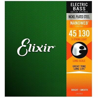 $ CDN87.46 • Buy Elixir 14202 Nanoweb Light 5-String Electric Bass Guitar Strings  45-130