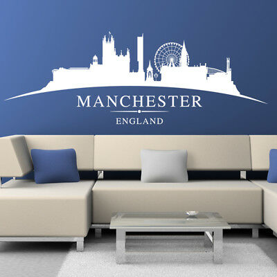 Large Manchester City Skyline Silhouette Bedroom Wall Art Sticker Decal Decor Sl • 29.99£
