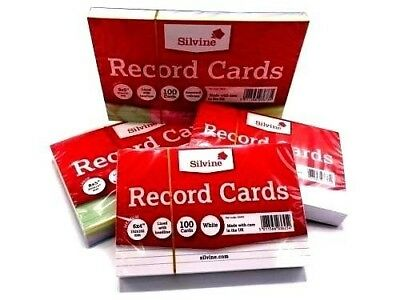 £2.20 • Buy Revision/Flash/Index Silvine Record Cards White/Plain/Ruled/Coloured Free P+P