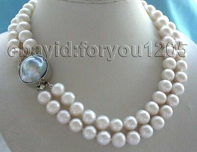 $99.99 • Buy 17-18  Double Genuine Natural  12mm White Pearl Necklace Mabe Pearl Clasp #f706!