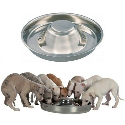 Trixie Stainless Steel Puppy Bowl Feeding Weaning Saucer - Medium Or XL Whelping • 17.99£